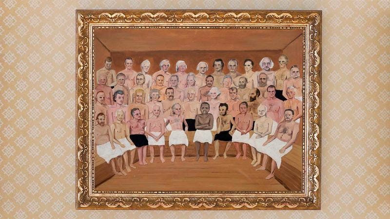 Illustration for article titled A Historic Tradition: President Obama Has Been Added To The White House Portrait Of Every Former President Sitting Together In A Sauna