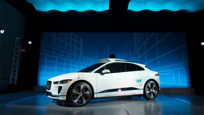 An autonomous Jaguar I-Pace outfitted with Waymo's technology.