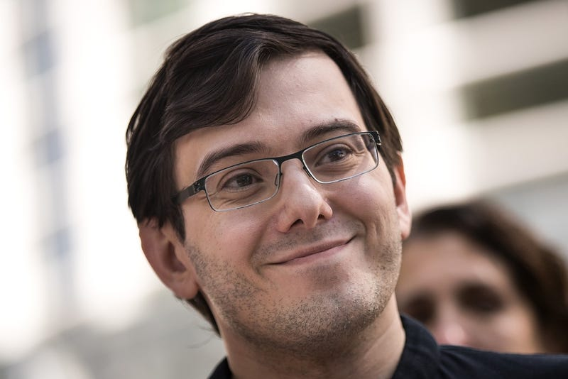 Martin Shkreli speaks to the press on August 4th after being found guilty on three counts involving securities fraud (Photo by Drew Angerer/Getty Images)