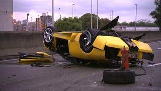 Illustration for article titled Lamborghini Murciélago Flips In Fatal Crash