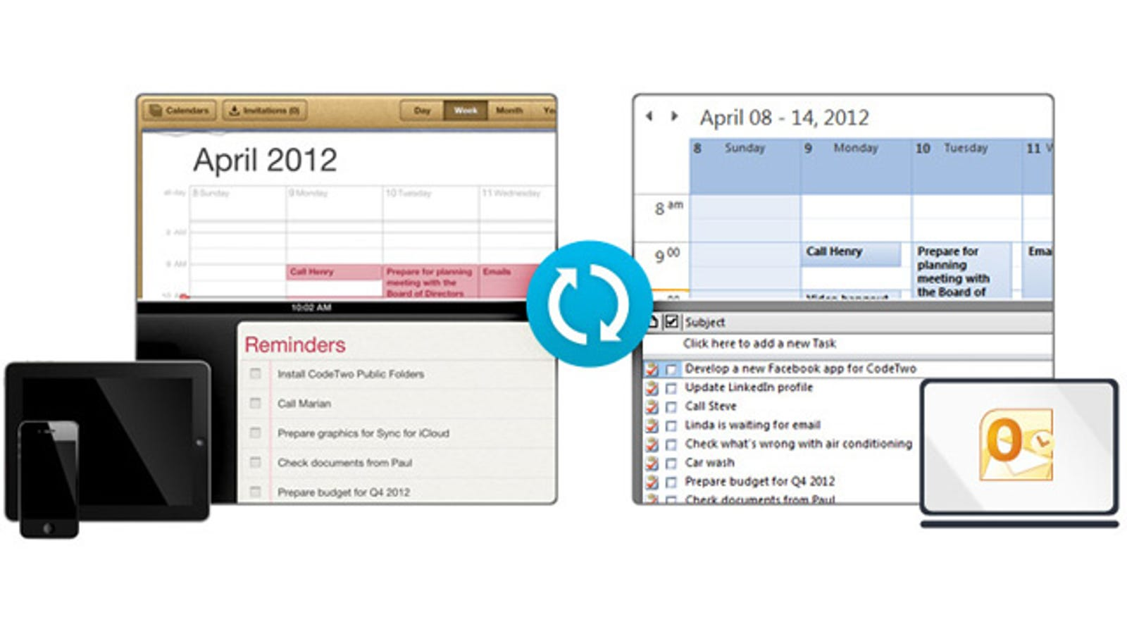 CodeTwo Sync For iCloud Syncs iCloud Data with Outlook
