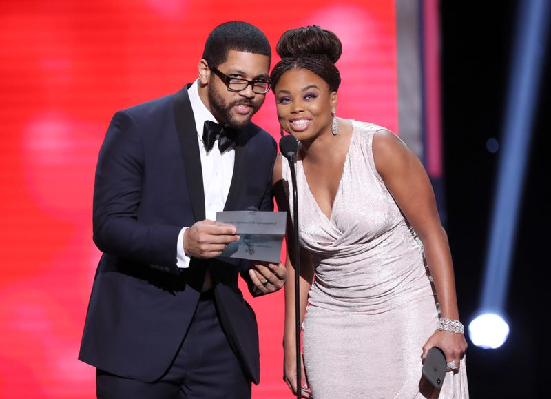 Michael Smith and Jemele Hill  onstage during the 49th NAACP Image Awards at Pasadena Civic Auditorium in California on Jan. 15, 2018 (Maury Phillips/Getty Images for NAACP)
