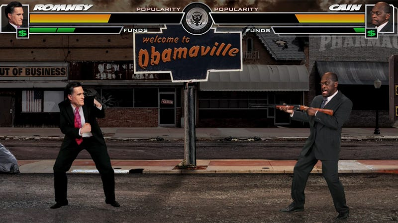 Illustration for article titled Watch Mitt Romney Kick The Crap Out Of Rick Santorum And Herman Cain, Mortal Kombat-Style