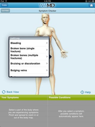 Illustration for article titled WebMD iPad App Is A Hypochondriac's Nightmare