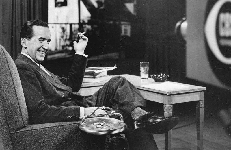 Newscaster Edward R. Murrow on a CBS TV set circa 1950s (Associated Press)