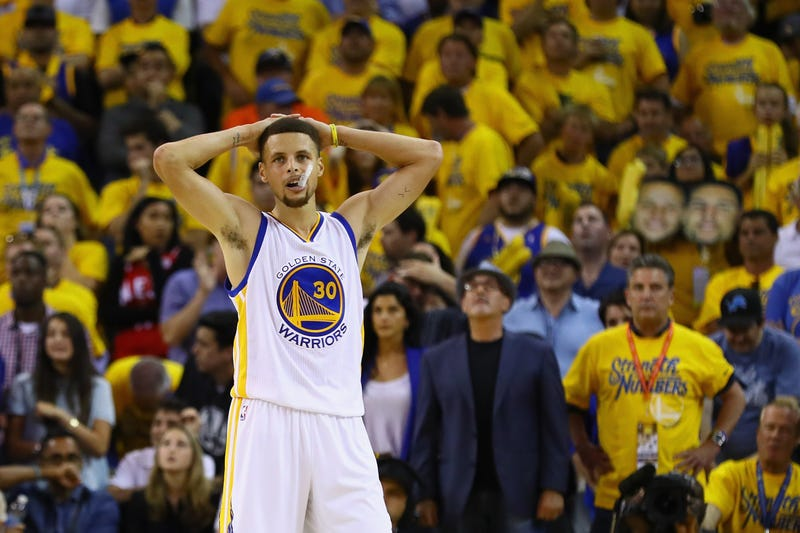 Stephen Curry of the Golden State Warriors reacts during the second half of Game 7 against the Cleveland Cavaliers in the 2016 NBA Finals June 19, 2016, in Oakland, Calif. Ezra Shaw/Getty Images