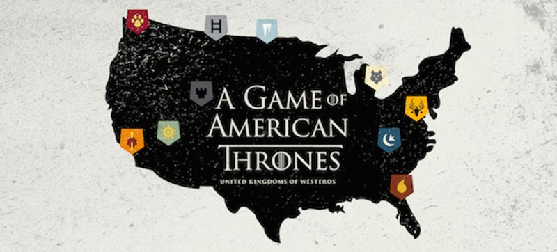A Map Of Game Of Thrones If It Was Set In The USA - Us map of states game