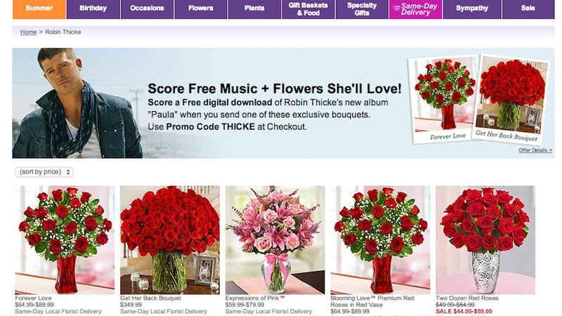 Illustration for article titled 1-800-FLOWERS Teams Up with Robin Thicke for Worst Promotion Ever