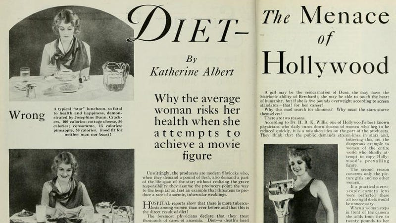 Illustration for article titled Celebrity Diet Stories of 1929 Just as Depressing as Today's