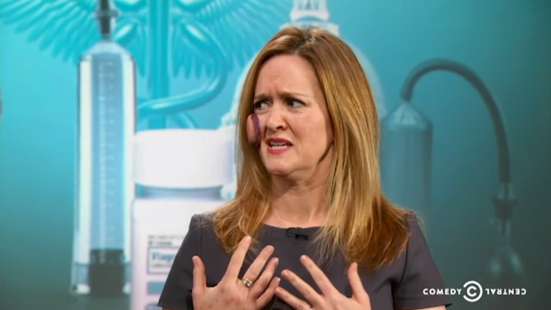 Illustration for article titled Samantha Bee Gets a Federally Funded Penis Pump Stuck to her Face