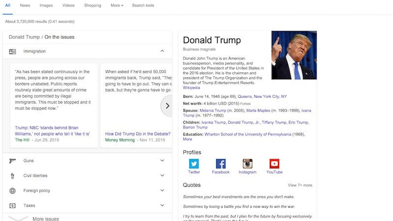Illustration for article titled Google Makes It Easy to Find a Presidential Candidate's Stance on Issues and Track Primary Results