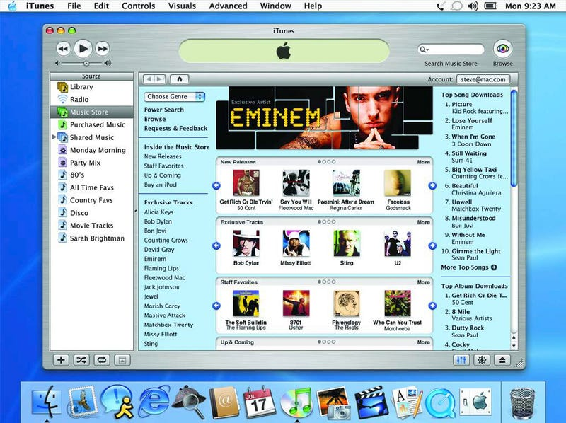 The iTunes store in 2003, two years after it first launched