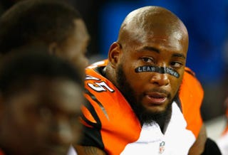 Devon Still of the Cincinnati Bengals looks on during the fourth quarter against the New England Patriots at Gillette Stadium Oct. 5, 2014, in Foxboro, Mass.Jared Wickerham/Getty Images