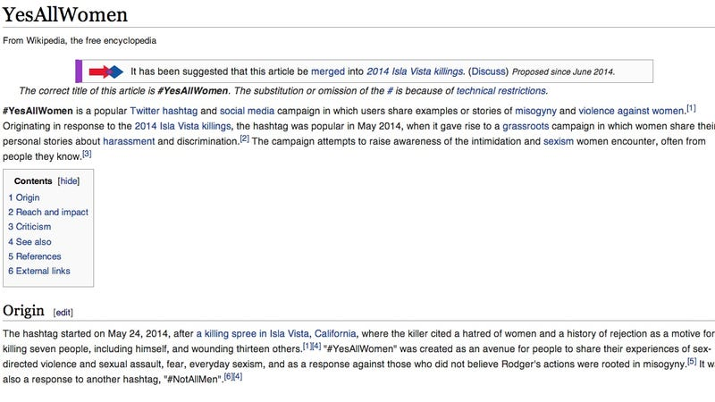 Illustration for article titled There's a Battle Going on Over the Wikipedia Page for #YesAllWomen