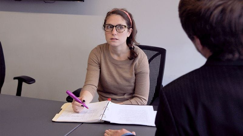 Illustration for article titled Employee Slowly Realizes Boss Attempting To Have Normal Conversation With Her