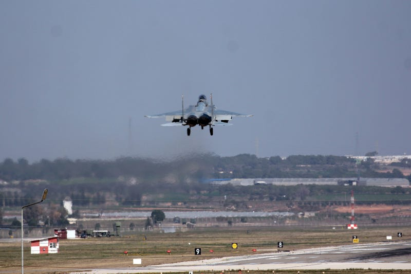 A Saudi jet fighter lands at Incirlik Air Base in southern Turkey. Photo credit: AP Photo