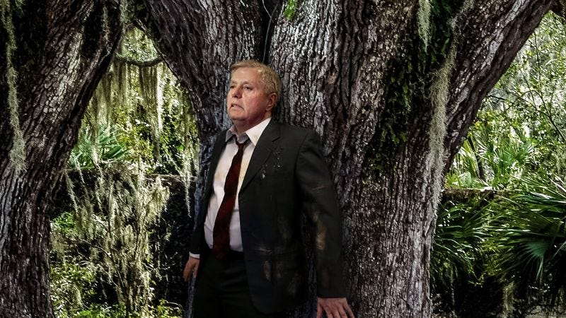 Exhausted and barely able to stand, Sen. Lindsey Graham can only listen in terror as the yelping from President Trump's hounds grows louder and louder.