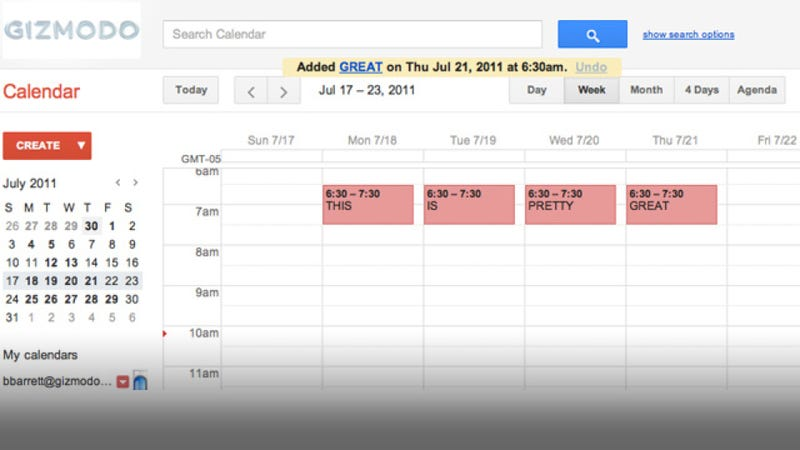 Illustration for article titled The New Google Calendar Sure Is Purty
