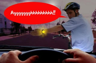 Illustration for article titled Safe Turn Keeps Cyclists From Getting Killed (Athough This Guy Probably Won't Make It)