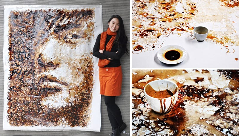 Illustration for article titled Watch This Artist Create a Caffeinated Masterpiece With Coffee Cup Stains