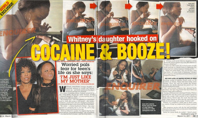 Illustration for article titled Whitney Houston's Daughter An Alleged Cocaine Enthusiast