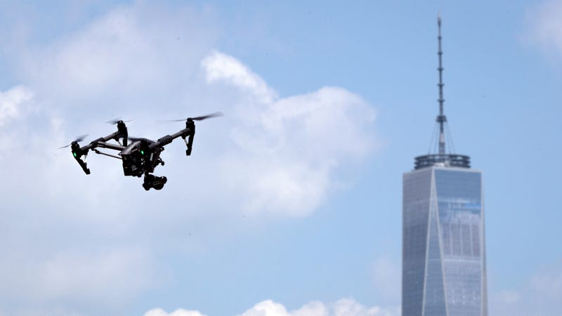 A drone practicing for the National Drone Racing Championships on Governors Island