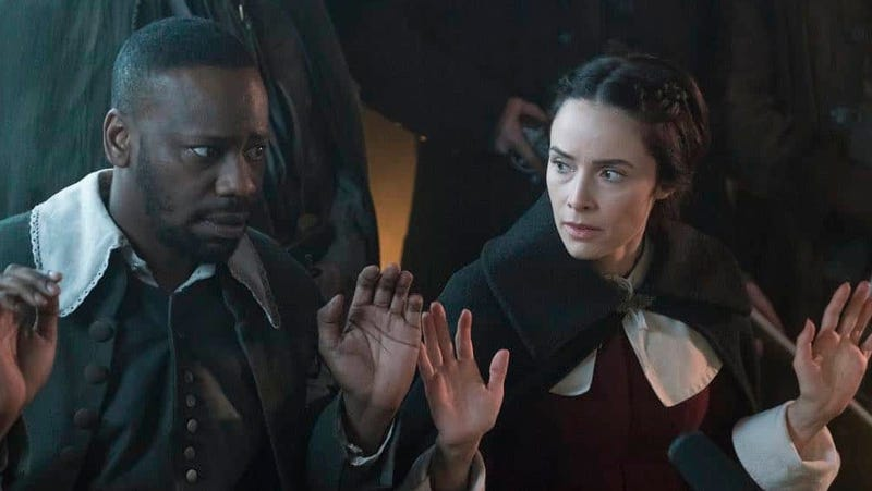 Malcolm Barrett as Rufus Carlin and Abigail Spencer as Lucy Preston in NBC's Timeless.