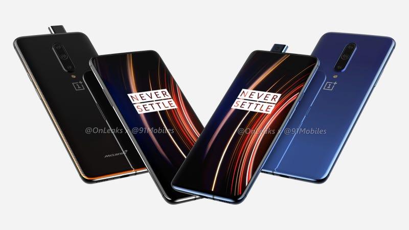 El OnePlus 7T Pro mantiene el diseño de su predecesor (a la izquierda, la versión McLaren)