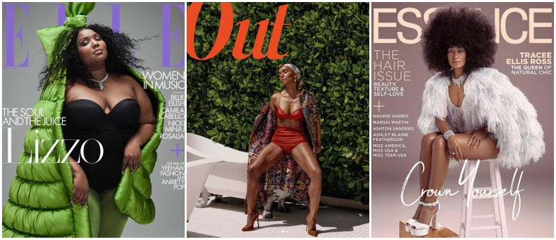 Lizzo for Elle (left); Janet Mock for Out magazine; Tracee Ellis Ross for Essence