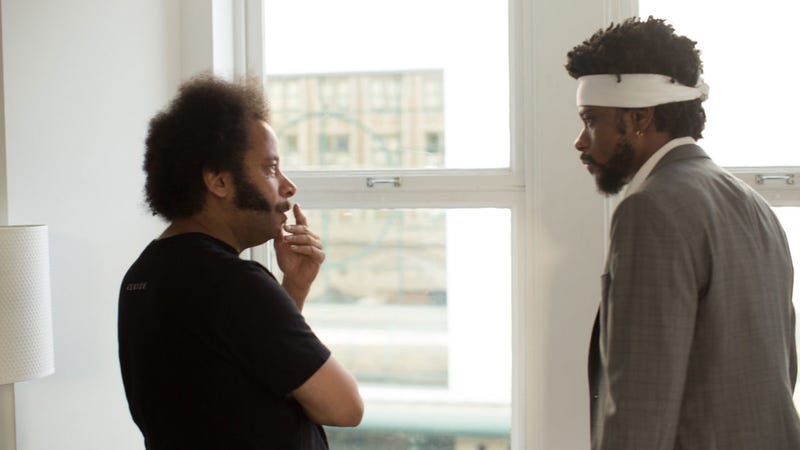 Boots Riley and Lakeith Stanfield during the making of Sorry to Bother You.