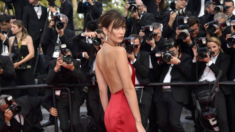 Model Bella Hadid arrives at a Cannes screening. (Photo: Loic Venance/Getty Images)