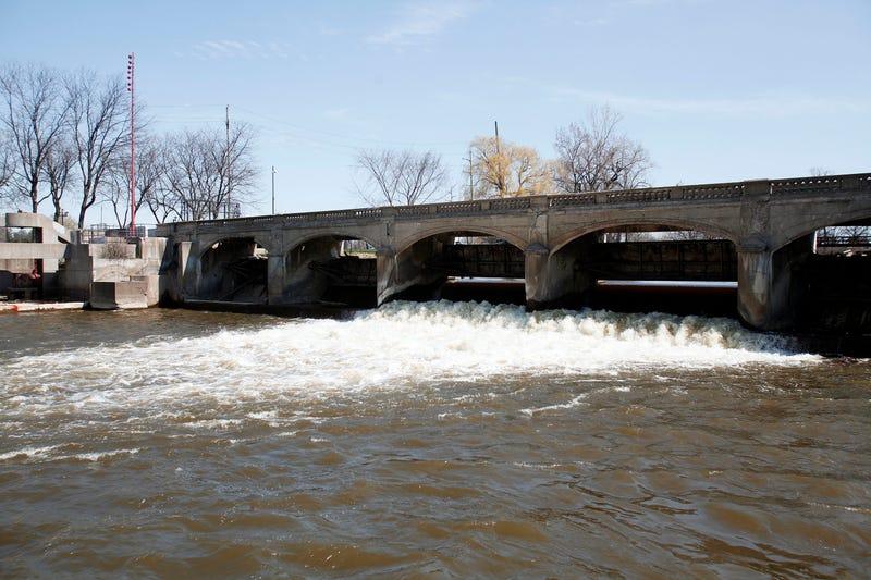 The Flint River is shown in downtown Flint April 20, 2016 in Flint, Michigan.