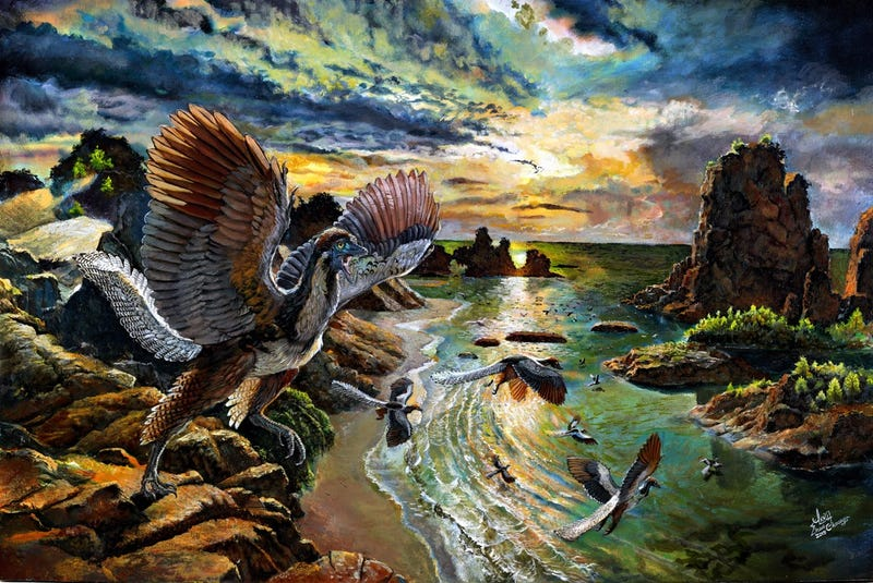 Artist's idea of Archaeopteryx albersdoerferi.