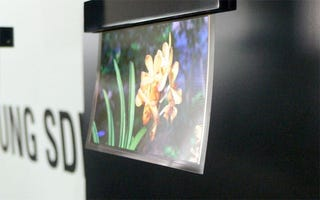 Illustration for article titled Flexible OLED Display is .05mm Thick, Flaps Around in the Wind