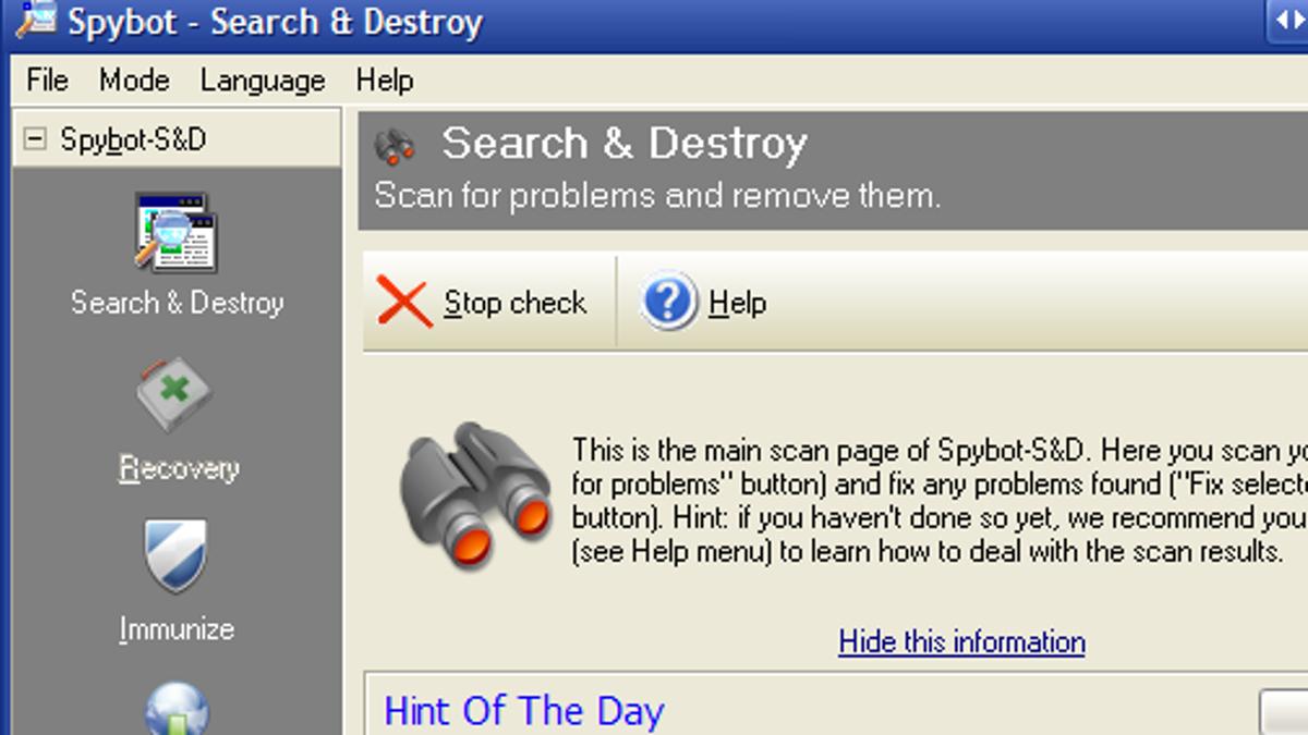 spybot search destroy xp free download