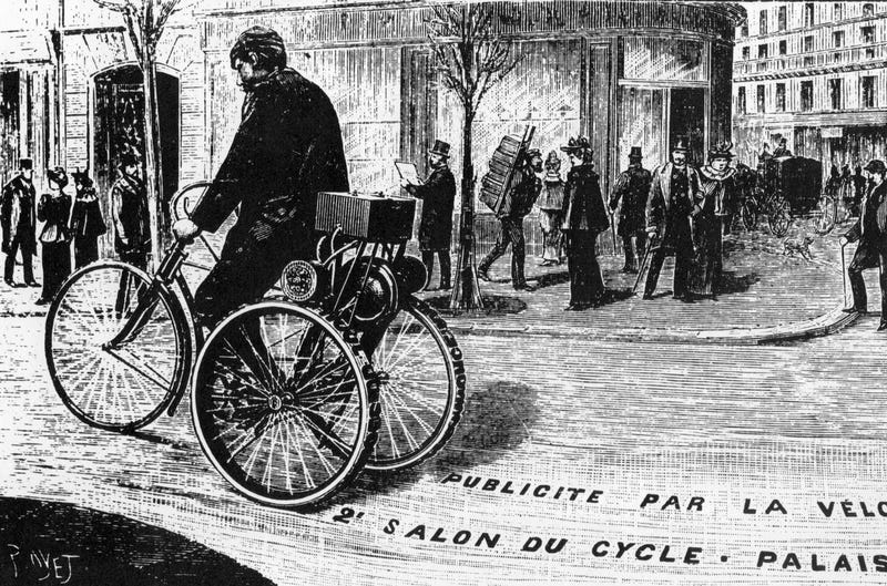 Illustration for article titled This Tricycle Printing Press Was the Hot New Advertising Stunt of 1895