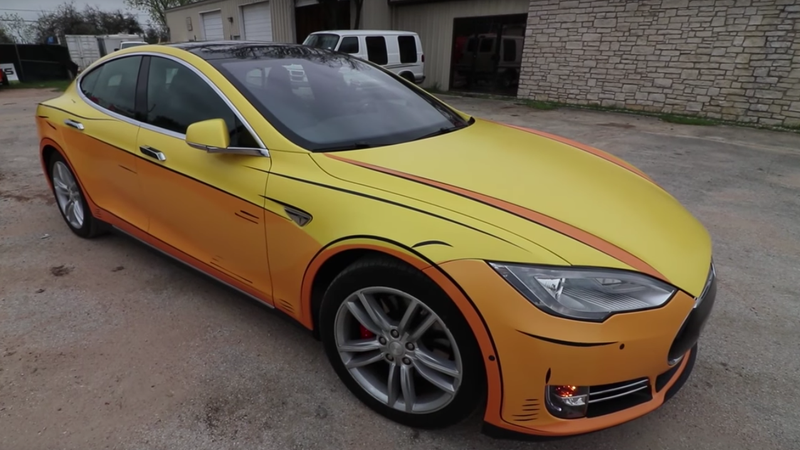 This Tesla Owner Wrapped His Model S To Look Like A Cartoon
