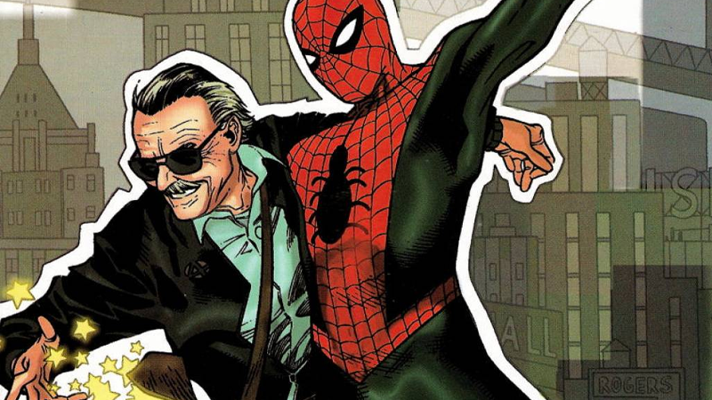 Stan and one of his lesser-known creations. From the cover of Stan Lee Meets the Amazing Spider-Man, by Olivier Coipel.