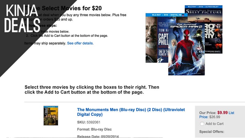 Illustration for article titled Today's Best Media Deals: 3 Blu-rays for $20, Fast & Furious, and More
