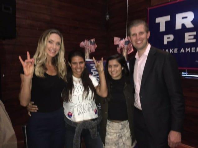 Eric Trump Proudly Poses With Woman Wearing  Latina Contra Trump  Shirt