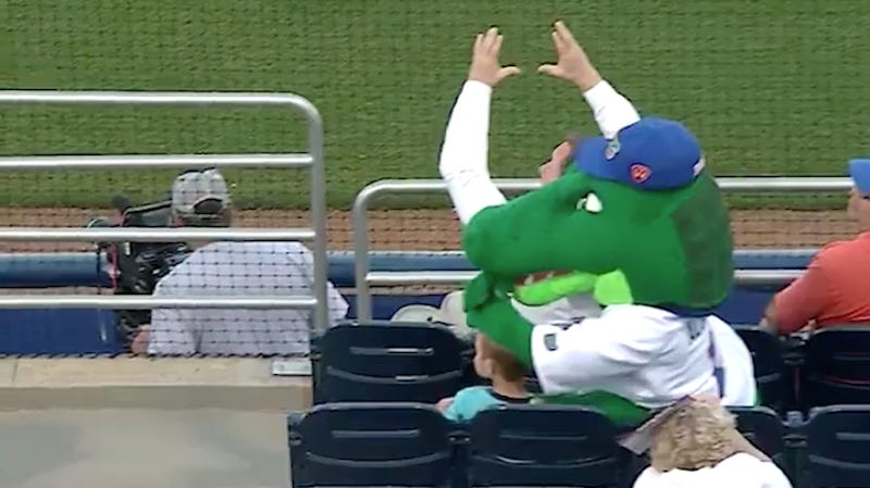 Illustration for article titled Florida Gators Mascot Sacrifices Big Dumb Head To Protect Kid From Foul Ball