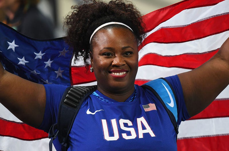 Michelle Carter of the United States celebrates placing first in the Women's Shot Put Final on Day 7 of the Rio 2016 Olympic Games at the Olympic Stadium on Aug. 12, 2016 in Rio de Janeiro, Brazil.  Quinn Rooney/Getty Images