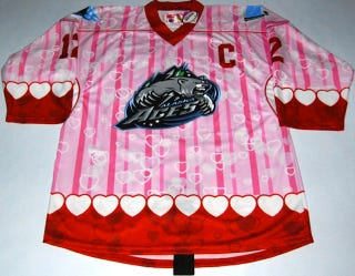 Illustration for article titled This Pink Nightmare Is An Actual Hockey Jersey