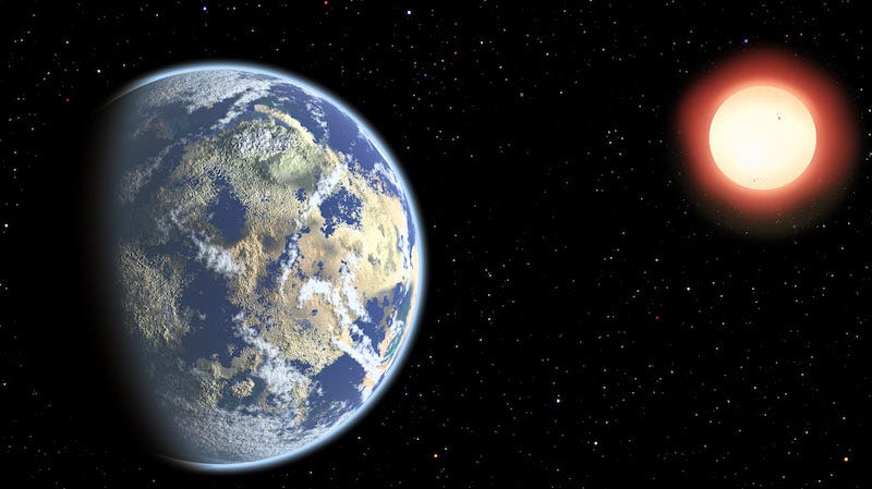 Artist's conception of an Earth-like planet orbiting a low mass star (Image: Christine Pulliam (CfA))