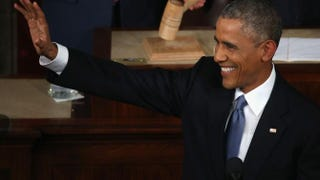 President Barack Obama waves before giving last year's State of the Union in the House chamber of the U.S. Capitol Jan. 20, 2015, in Washington, D.C. Mark Wilson/Getty Images