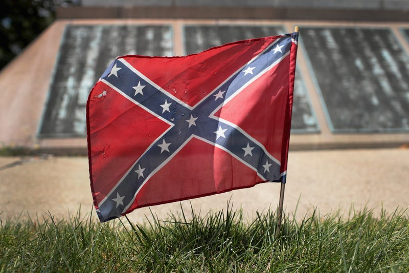 A Confederate flag at Camp Douglas in Chicago (Scott Olson/Getty Images)