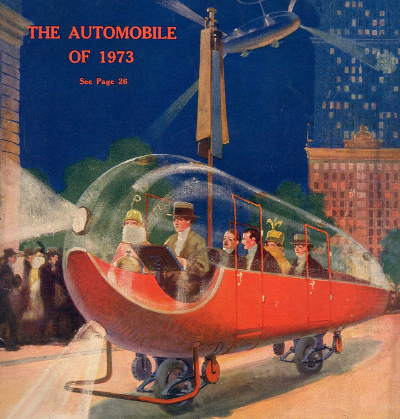 Illustration for article titled 1923 Envisions the Two-Wheeled Flying Car of 1973