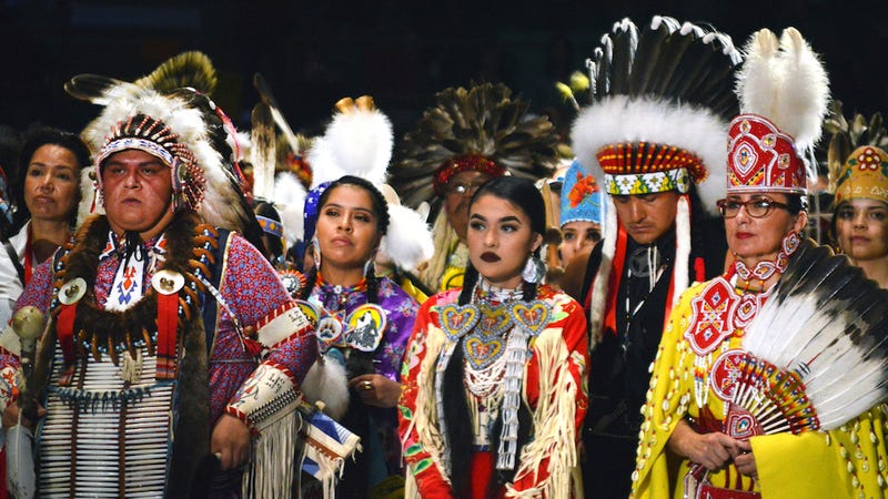 Native American dancers from the United States and Canada at the Gathering of Nations. Image via the AP.