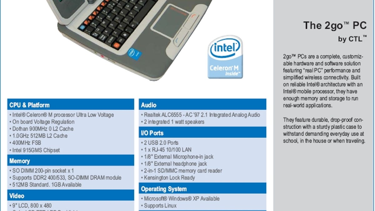 Intel Netbook Actually the 2go PC Made by CTL