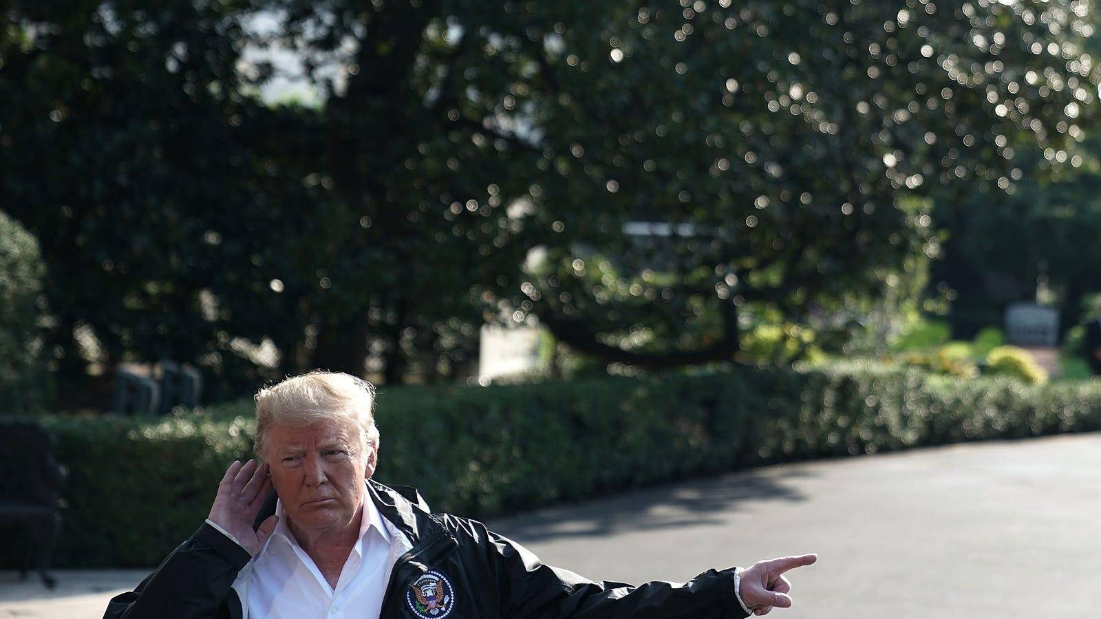 Trump Visits North Carolina, Cracks Jokes With Hurricane -3417